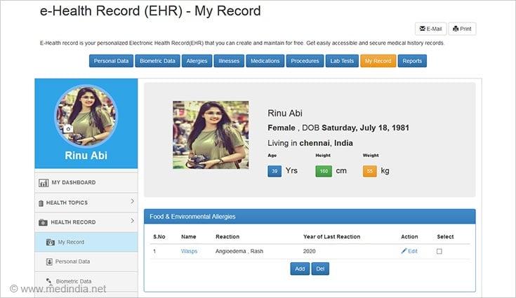 Consumer ehr My Record